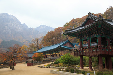 The building of Buddhist Sinheungsa Temple in Seoraksan National