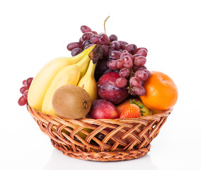 fruit in basket isolated on white background
