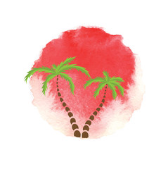 Palm trees against the watercolor sun. Vector logo.