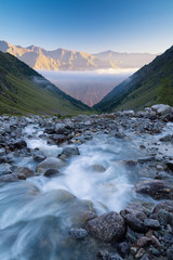 River and high mountains. Beautiful natural landscape