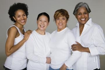 Multi-ethnic friends smiling