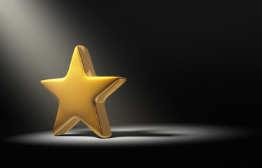 Spotlight On Gold Star On Dark Background