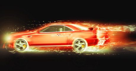 Red sport coupe with light trail