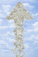 Illustration of dollar bills making arrow in sky