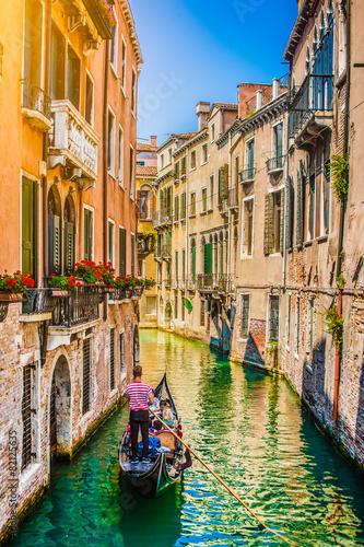 Tuinposter Venetie Gondola on canal in Venice, Italy