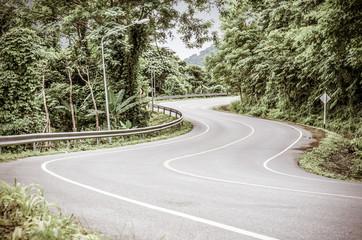 Vintage toned image of snake curved road