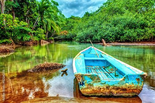 Leinwanddruck Bild Old boat in tropical river