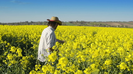 Male Farmer in Oilseed Rapeseed Cultivated Agricultural Field