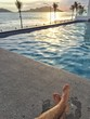 Taking a good break after office in the pool