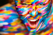 Portrait of the bright beautiful girl with art colorful make-up - 82127295