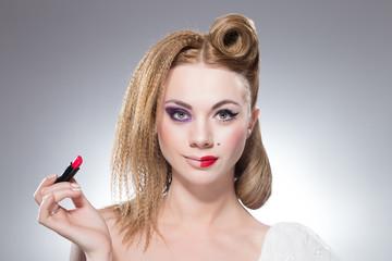 Girl with lipstick and half make up