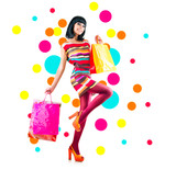 Full length portrait of fashion girl with shopping bags on white