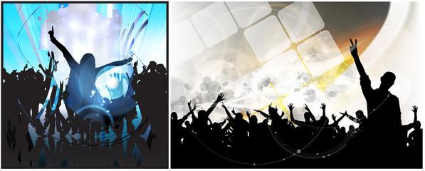 Crowd of dancing people. Easy editable vector