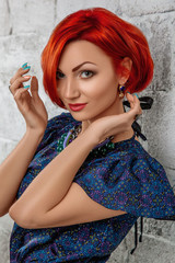 Beauty Portrait. Young Red Woman