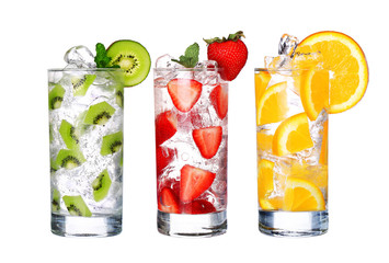 Glass Of Cold fruit Drinks collection  isolated on white backgro