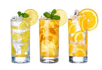 Glass Of Cold ice tea and lemonade Drink collection  isolated on