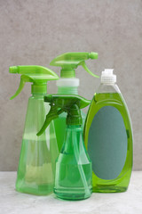 Green spray bottles