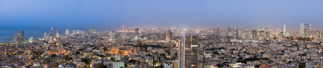 Panoramic cityscape at night,Tel Aviv, Israel