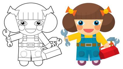 Cartoon character - girl mechanic - coloring page