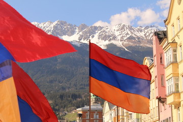 Armenian flags in Innsbruck, Austria