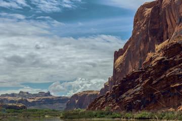 Rock formations in desert landscape, Moab, Utah, United States