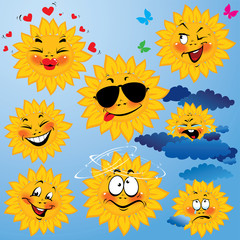 Set of cute cartoons of sun with different expressions and emoti