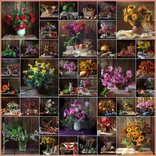 Fotobehang Zonnebloem Натюрморт, коллаж, цветы, букет. Фон.