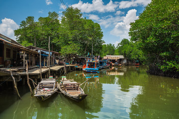Fishing village on the island in Southeast Asia.