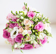 Wedding fower bouquet with pink roses