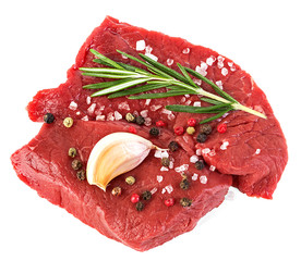 Beef raw meat isolated on white background