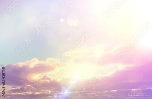 Sunset sky with retro effect and bokeh lights