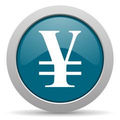 yen blue glossy web icon