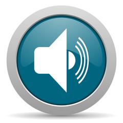 volume blue glossy web icon