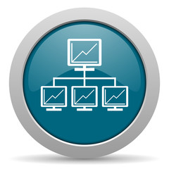 network blue glossy web icon