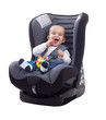 Adorable smiling happy child sitting in a car seat