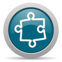 puzzle blue glossy web icon