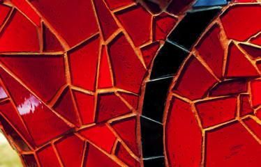 Mosaico in vetro rosso