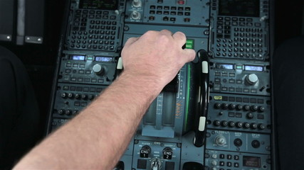 Captian pilot push thrust lever handle engine take off Airbus
