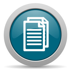 document blue glossy web icon
