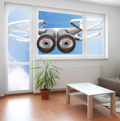 Drone spying through window your living room.