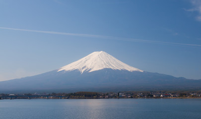 Mountain Fuji and lake kawaguchi in spring season