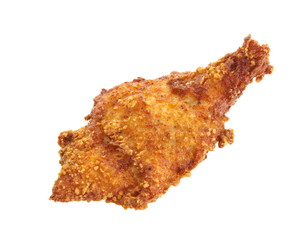 Fried chicken leg isolated on a white background