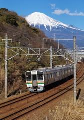 Mountain Fuji and train in winter season