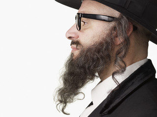 Profile of serious Jewish rabbi
