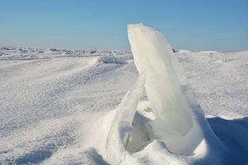 Sunny polar landscape- frozen sea at the sunny day