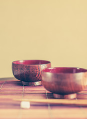 Vintage style of Japanese wood bowl and wood chopstick