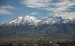 Close up of city of Arequipa, Peru with volcano Chachani