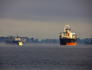 Ships on the Columbia River, Pacific Northwest, United States