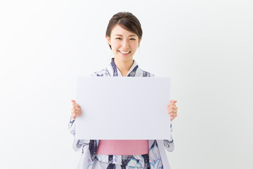 浴衣を着た女性 ホワイトボード