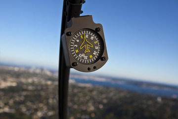 Close Up Of Compass In Aircraft